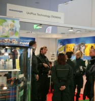 German customs officers at the company's booth