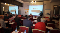 Static Control's Customer Support Technician Alejandro Casillas and Sales Executive for Eastern Europe Angela Shekyls address attendees at the first seminar of 2015 in Tirana, Albania