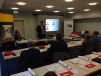 Miguel Neureiter, Static Control's General Manager for the DACH region, presents at the Berlin seminar held on 11 March