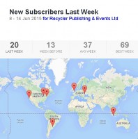 A map showing newsletter sign-ups in one week