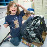 Broken printer used to develop children's' skills