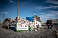 rer130415k/A112.30.2015/ Roberto E. Rosales/Journal Workers who were fired by the Lexmark Company in Ciudad Juarez have staged a protest in front of the company. They were fired for demanding a raise in wages. Pictured is a makeshift tent located just steps from the entrance to a factory. Ciudad Juarez, Mexico(Albuquerque Journal)